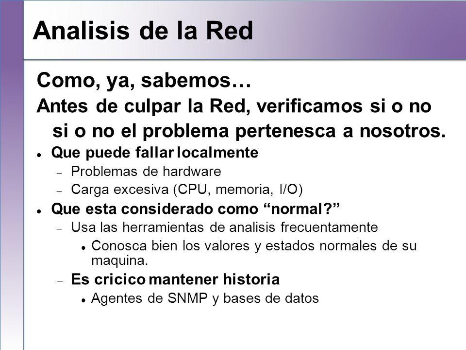 Local Analysis Como, ya, sabemos… Antes de culpar la Red, verificamos si o no si o no el problema pertenesca a nosotros. Que puede fallar localmente P