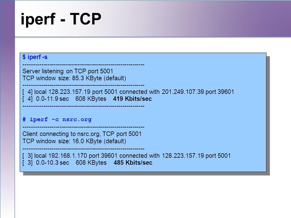 $ iperf -s ------------------------------------------------------------ Server listening on TCP port 5001 TCP window size: 85.3 KByte (default) ------