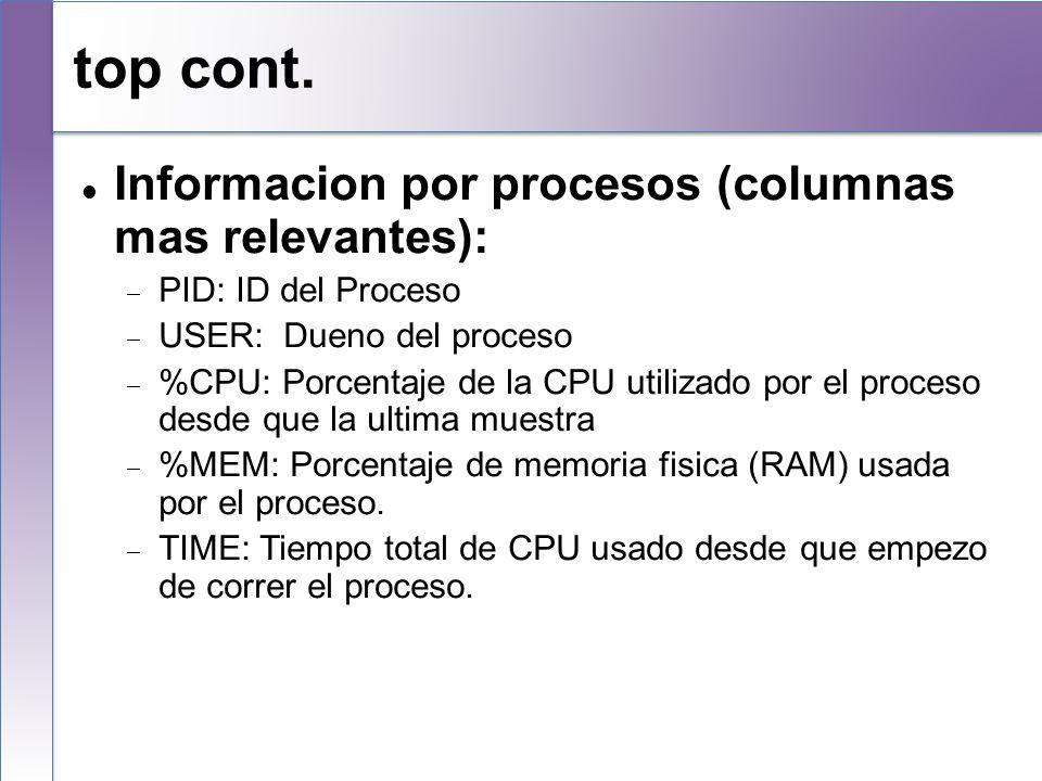 top cont. Informacion por procesos (columnas mas relevantes): PID: ID del Proceso USER: Dueno del proceso %CPU: Porcentaje de la CPU utilizado por el