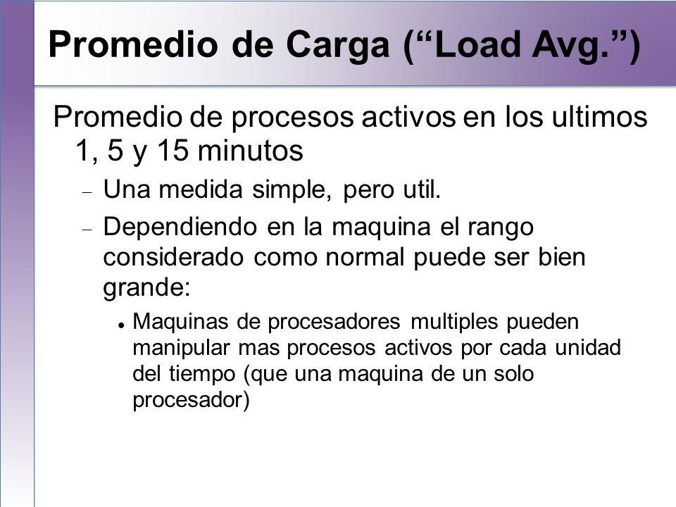 Promedio de Carga (Load Avg.) Promedio de procesos activos en los ultimos 1, 5 y 15 minutos Una medida simple, pero util. Dependiendo en la maquina el