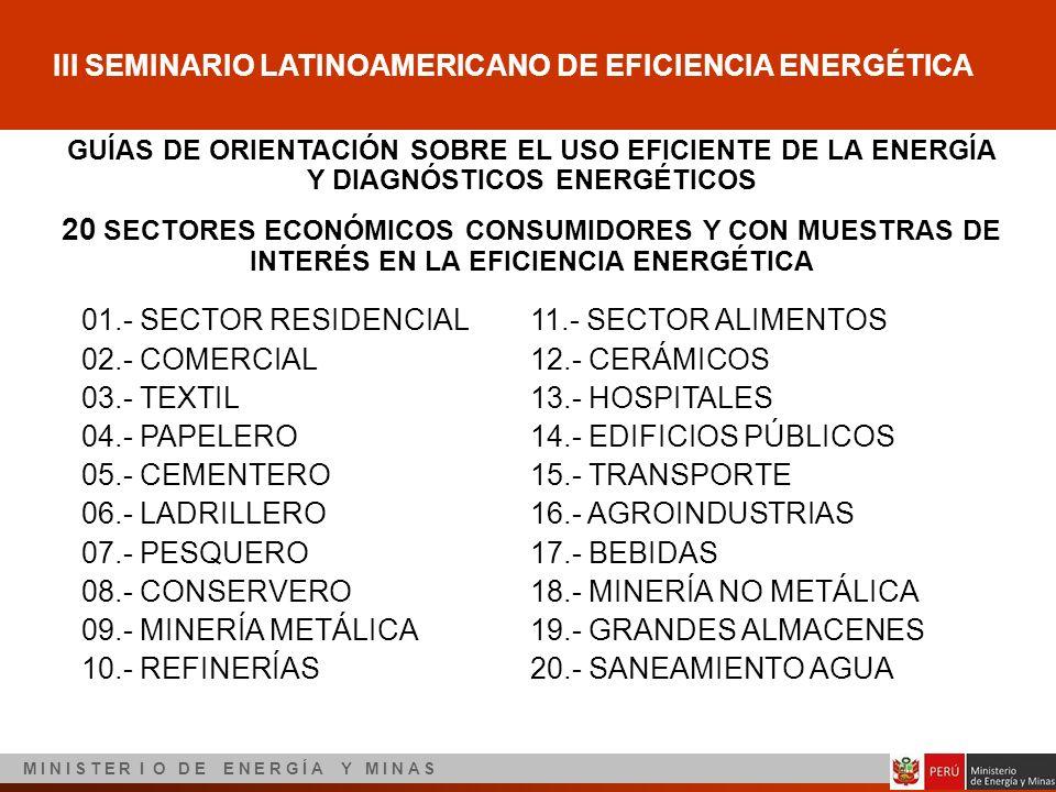 III SEMINARIO LATINOAMERICANO DE EFICIENCIA ENERGÉTICA M I N I S T E R I O D E E N E R G Í A Y M I N A S GUÍAS DE ORIENTACIÓN SOBRE EL USO EFICIENTE D