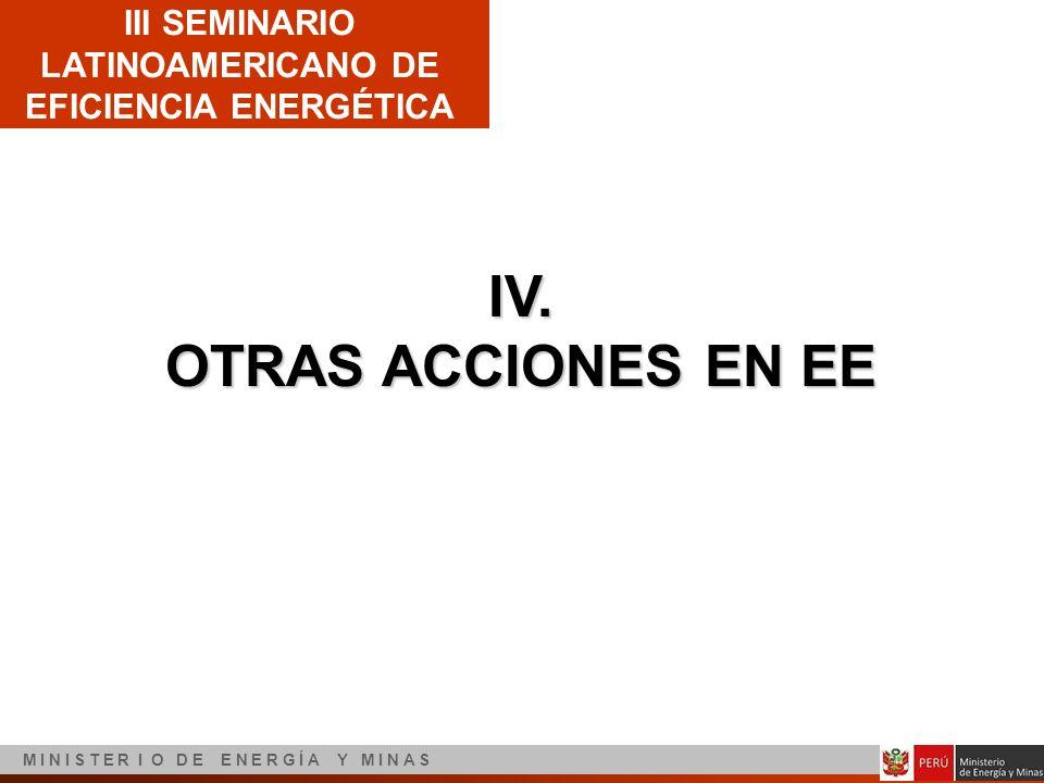 III SEMINARIO LATINOAMERICANO DE EFICIENCIA ENERGÉTICA M I N I S T E R I O D E E N E R G Í A Y M I N A S IV. OTRAS ACCIONES EN EE