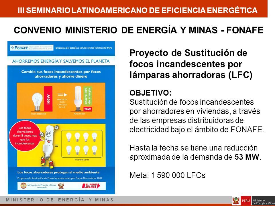 III SEMINARIO LATINOAMERICANO DE EFICIENCIA ENERGÉTICA M I N I S T E R I O D E E N E R G Í A Y M I N A S CONVENIO MINISTERIO DE ENERGÍA Y MINAS - FONA