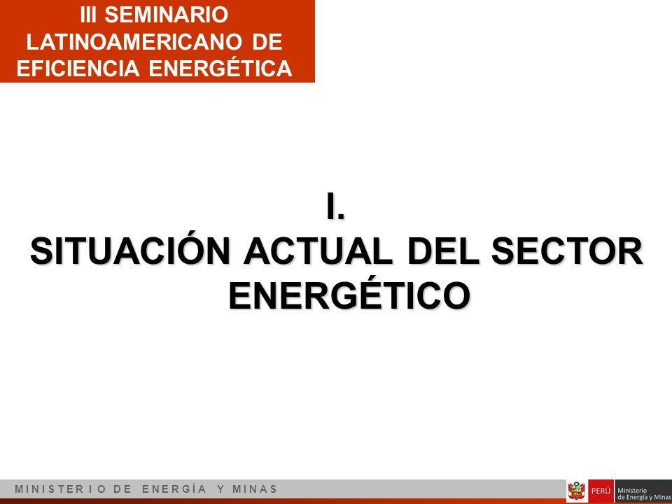 III SEMINARIO LATINOAMERICANO DE EFICIENCIA ENERGÉTICA M I N I S T E R I O D E E N E R G Í A Y M I N A S I. SITUACIÓN ACTUAL DEL SECTOR ENERGÉTICO