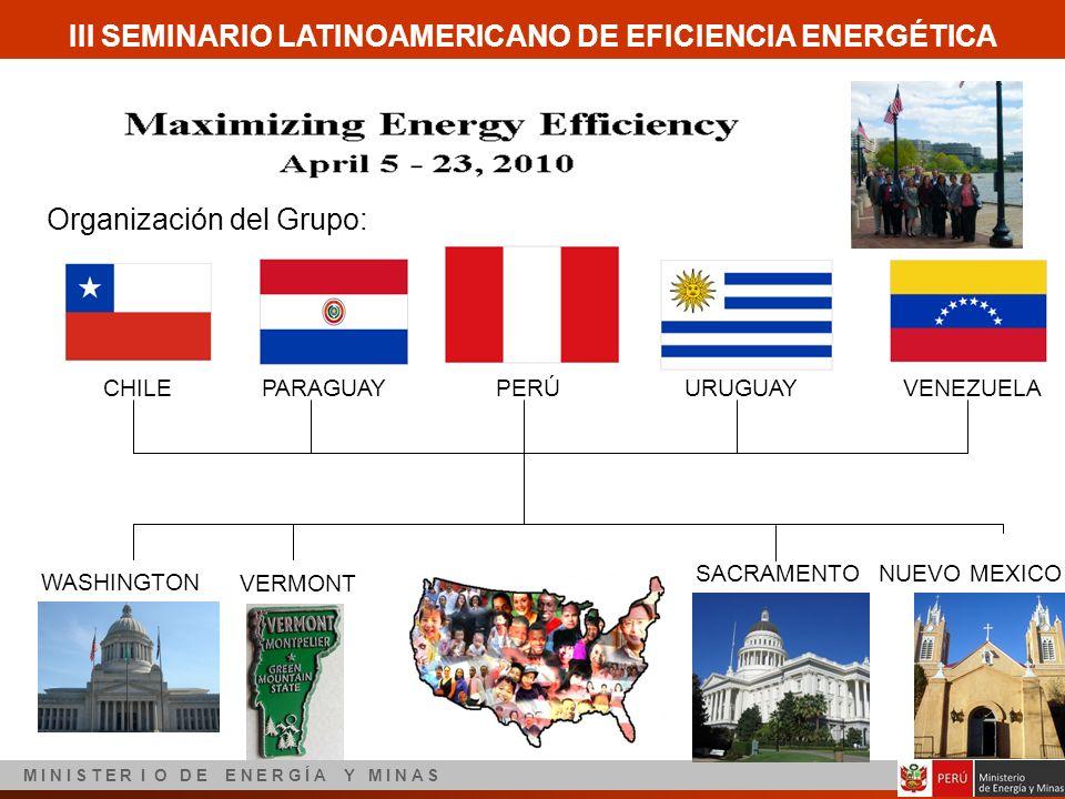 III SEMINARIO LATINOAMERICANO DE EFICIENCIA ENERGÉTICA M I N I S T E R I O D E E N E R G Í A Y M I N A S Organización del Grupo: CHILEPARAGUAYPERÚURUG