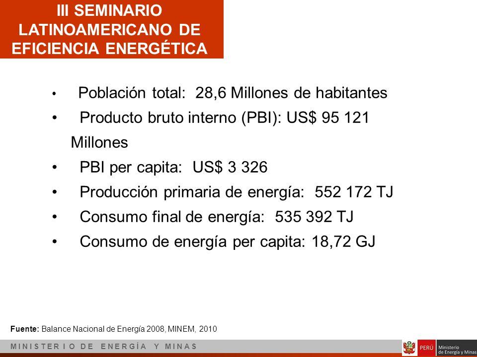 III SEMINARIO LATINOAMERICANO DE EFICIENCIA ENERGÉTICA M I N I S T E R I O D E E N E R G Í A Y M I N A S Población total: 28,6 Millones de habitantes