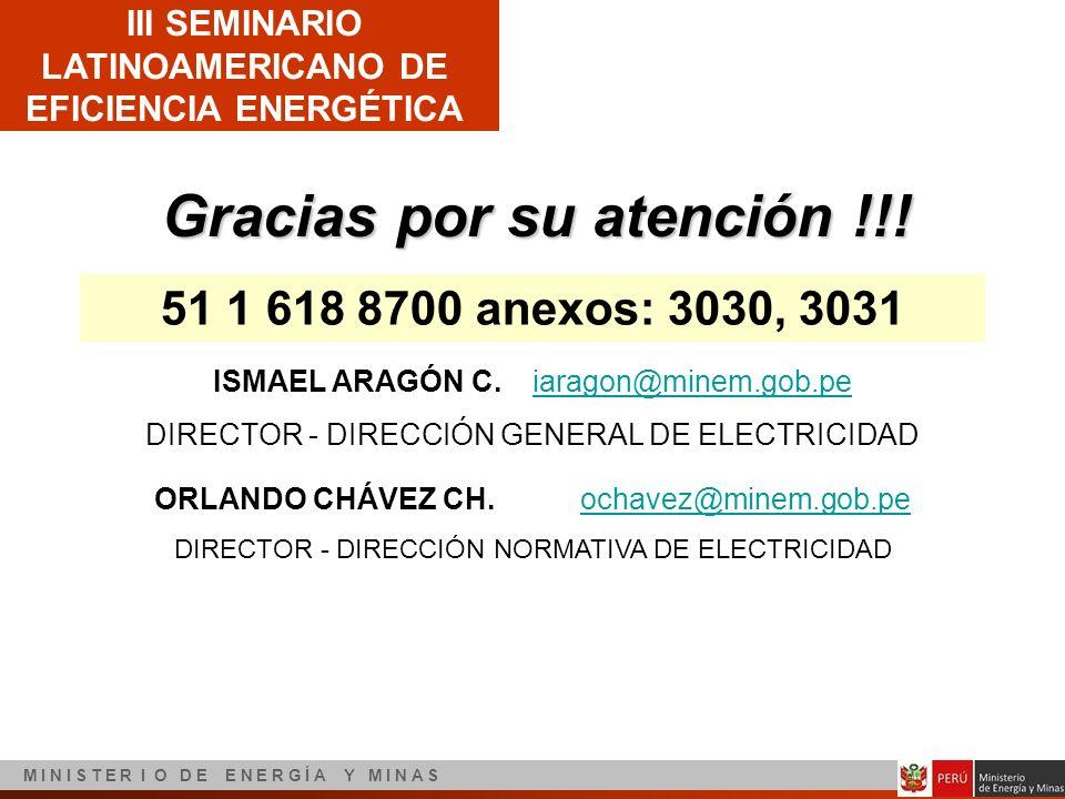 III SEMINARIO LATINOAMERICANO DE EFICIENCIA ENERGÉTICA M I N I S T E R I O D E E N E R G Í A Y M I N A S Gracias por su atención !!! 51 1 618 8700 ane