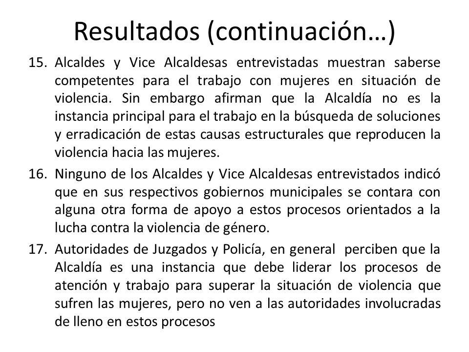 Resultados (continuación…) 18.Jefes de Policía y el personal de los Juzgados visualizan la participación de la Alcaldía un tanto forzada a partir de iniciativas externas, Comités que se forman y a los que la Alcaldía se integra pero como un miembro más y no como una entidad beligerante, propulsora y líder.