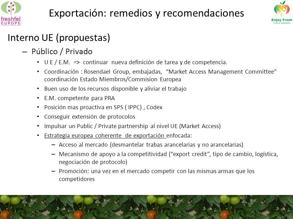 Exportación: remedios y recomendaciones Interno UE (propuestas) – Público / Privado U E / E.M.