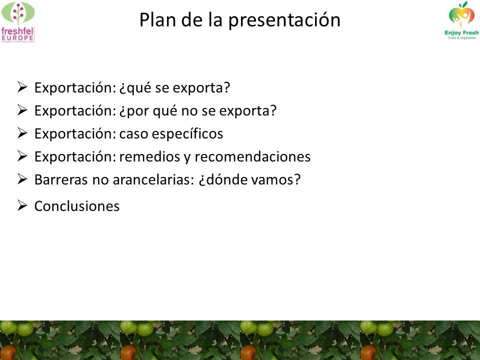Plan de la presentación Exportación: ¿qué se exporta.