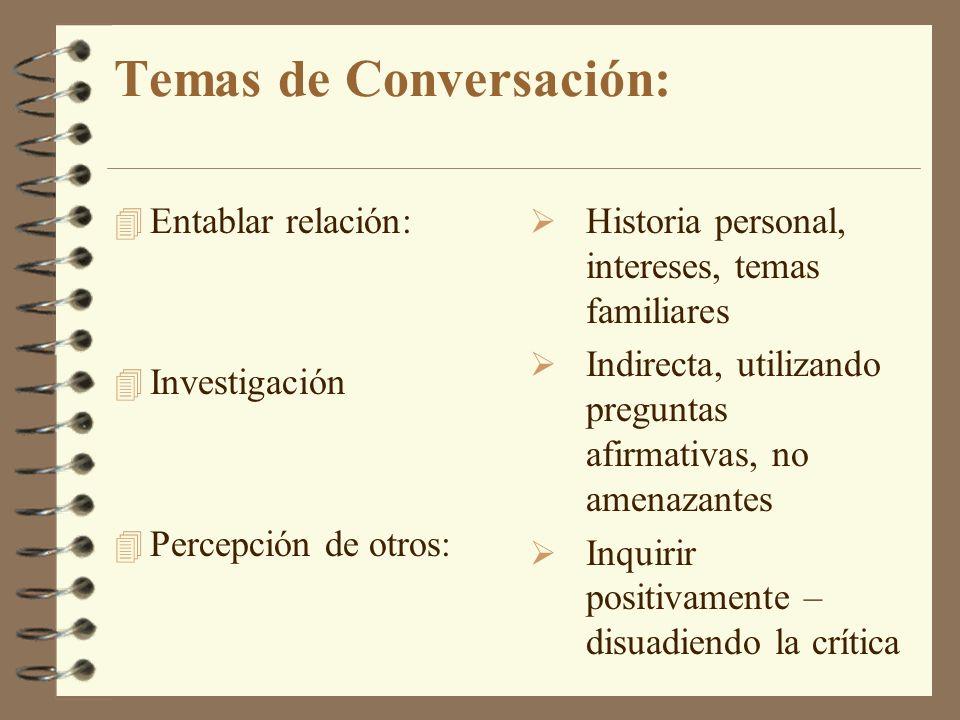 Temas de Conversación: 4 Entablar relación: 4 Investigación 4 Percepción de otros: Historia personal, intereses, temas familiares Indirecta, utilizand