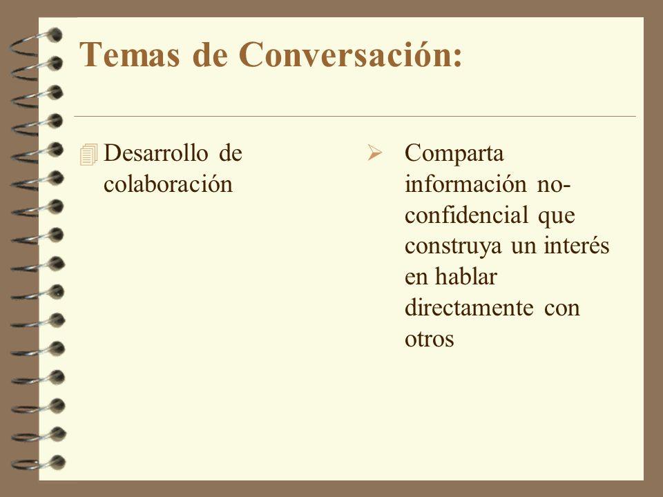 Temas de Conversación: 4 Desarrollo de colaboración Comparta información no- confidencial que construya un interés en hablar directamente con otros
