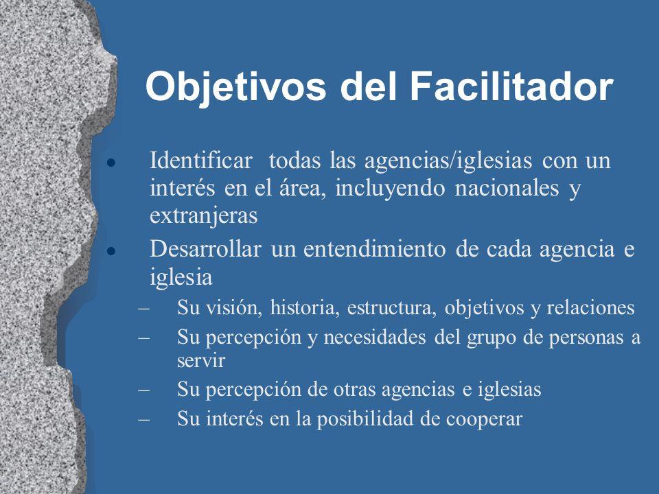 Objetivos del Facilitador l Identificar todas las agencias/iglesias con un interés en el área, incluyendo nacionales y extranjeras l Desarrollar un en
