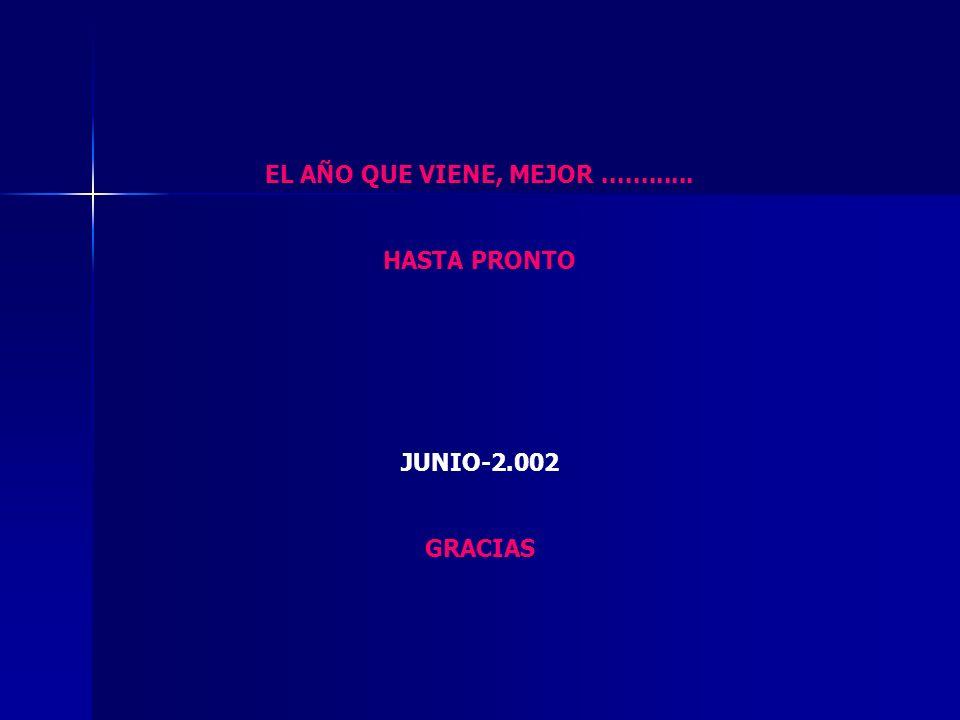 EL AÑO QUE VIENE, MEJOR............ HASTA PRONTO JUNIO-2.002 GRACIAS