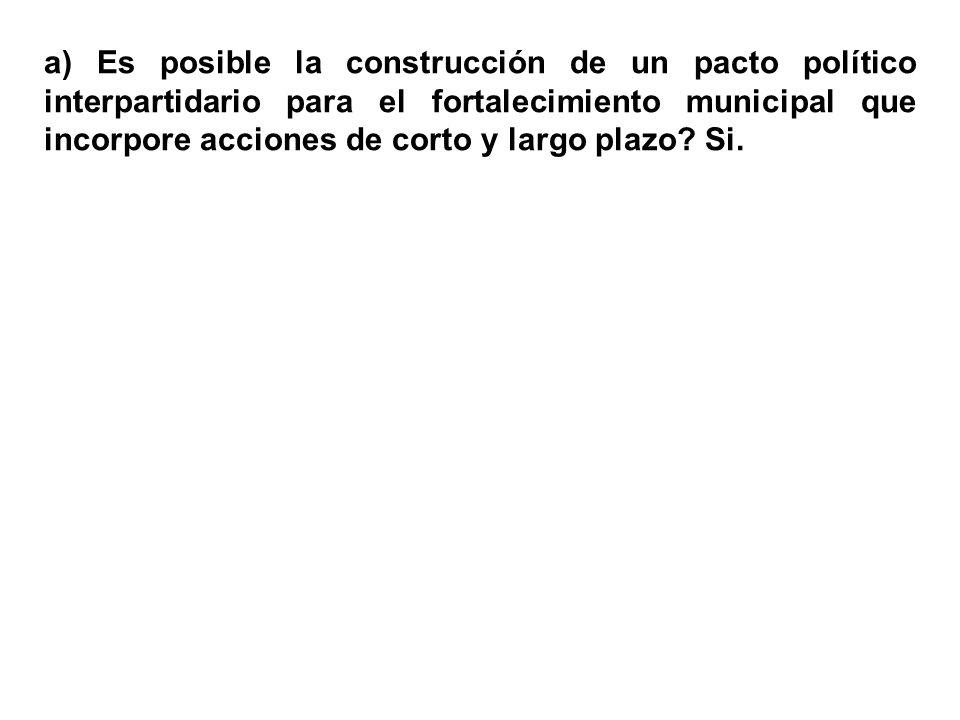 a) Es posible la construcción de un pacto político interpartidario para el fortalecimiento municipal que incorpore acciones de corto y largo plazo.