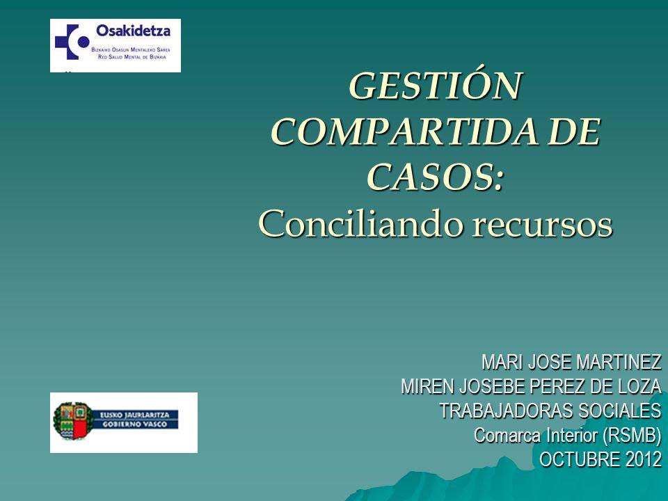 GESTIÓN COMPARTIDA DE CASOS: Conciliando recursos MARI JOSE MARTINEZ MIREN JOSEBE PEREZ DE LOZA TRABAJADORAS SOCIALES Comarca Interior (RSMB) OCTUBRE