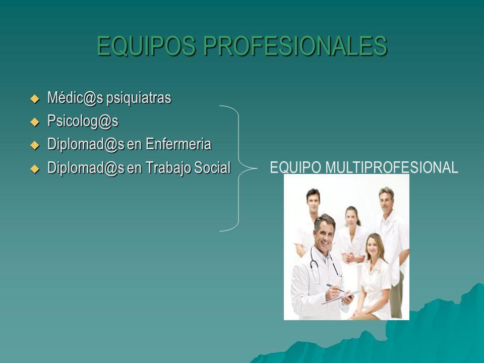 EQUIPOS PROFESIONALES Médic@s psiquiatras Médic@s psiquiatras Psicolog@s Psicolog@s Diplomad@s en Enfermeria Diplomad@s en Enfermeria Diplomad@s en Tr
