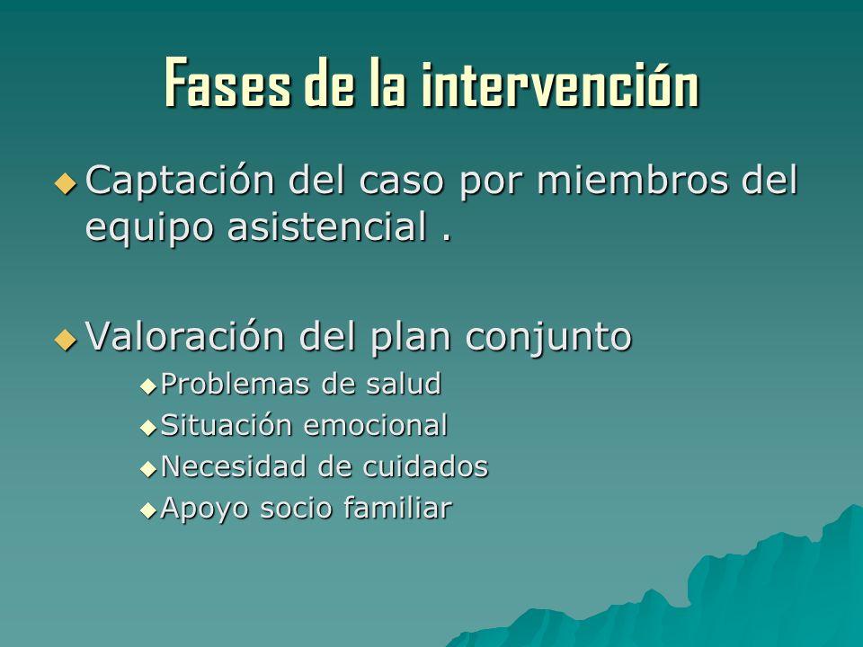 Fases de la intervención Captación del caso por miembros del equipo asistencial. Captación del caso por miembros del equipo asistencial. Valoración de