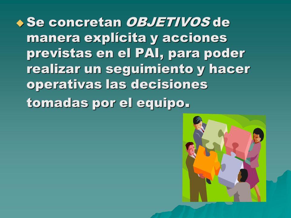 Se concretan OBJETIVOS de manera explícita y acciones previstas en el PAI, para poder realizar un seguimiento y hacer operativas las decisiones tomada