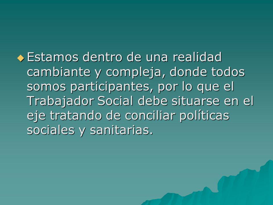 Estamos dentro de una realidad cambiante y compleja, donde todos somos participantes, por lo que el Trabajador Social debe situarse en el eje tratando
