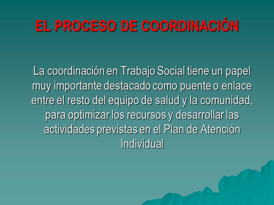 EL PROCESO DE COORDINACIÓN La coordinación en Trabajo Social tiene un papel muy importante destacado como puente o enlace entre el resto del equipo de