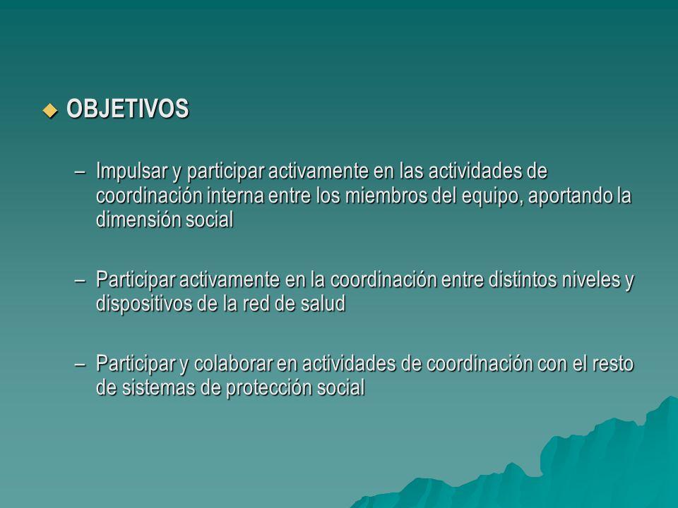 OBJETIVOS OBJETIVOS –Impulsar y participar activamente en las actividades de coordinación interna entre los miembros del equipo, aportando la dimensió