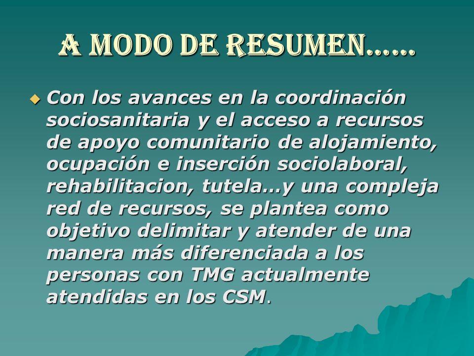 A MODO DE RESUMEN…… Con los avances en la coordinación sociosanitaria y el acceso a recursos de apoyo comunitario de alojamiento, ocupación e inserció