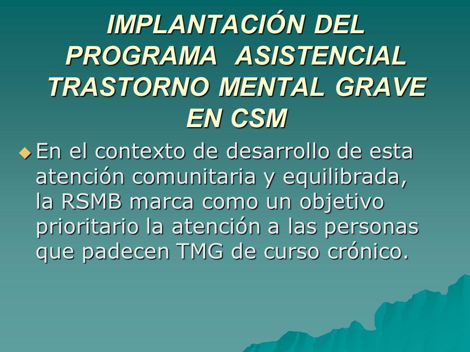 IMPLANTACIÓN DEL PROGRAMA ASISTENCIAL TRASTORNO MENTAL GRAVE EN CSM En el contexto de desarrollo de esta atención comunitaria y equilibrada, la RSMB m