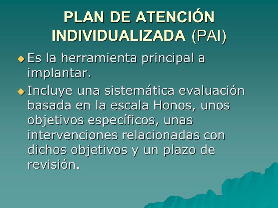 PLAN DE ATENCIÓN INDIVIDUALIZADA (PAI) Es la herramienta principal a implantar. Es la herramienta principal a implantar. Incluye una sistemática evalu