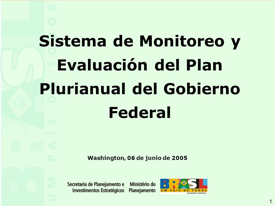 1 1 Washington, 06 de junio de 2005 Sistema de Monitoreo y Evaluación del Plan Plurianual del Gobierno Federal