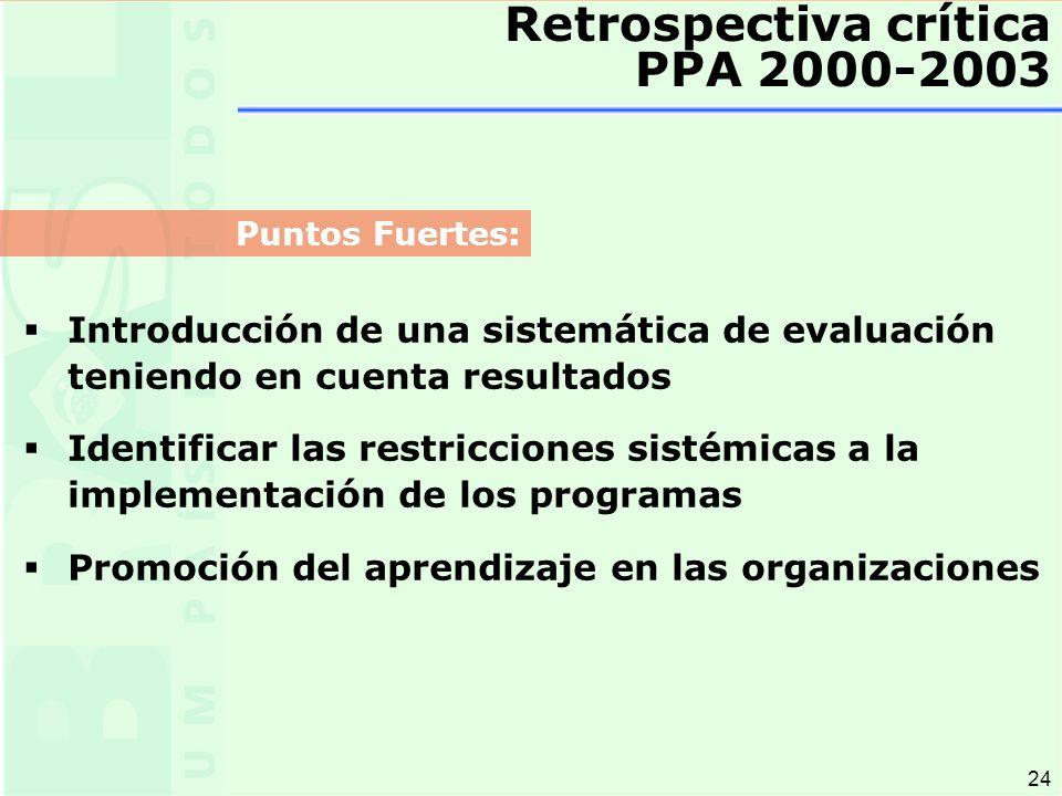 24 Retrospectiva crítica PPA 2000-2003 Introducción de una sistemática de evaluación teniendo en cuenta resultados Identificar las restricciones sistémicas a la implementación de los programas Promoción del aprendizaje en las organizaciones Puntos Fuertes: