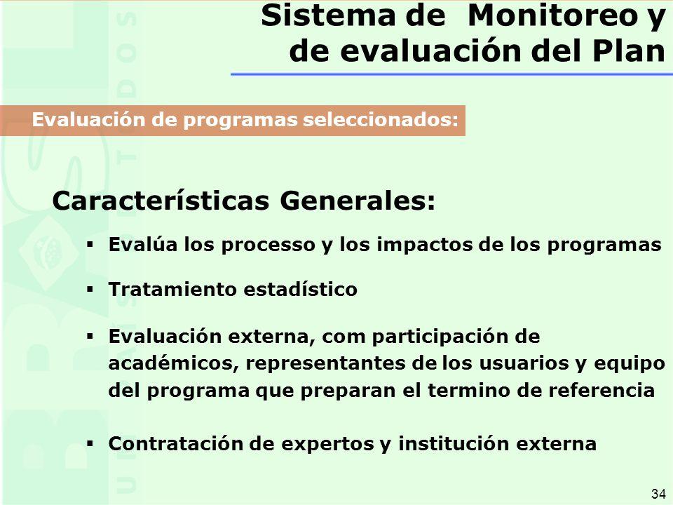 34 Características Generales: Evalúa los processo y los impactos de los programas Tratamiento estadístico Evaluación externa, com participación de académicos, representantes de los usuarios y equipo del programa que preparan el termino de referencia Contratación de expertos y institución externa Sistema de Monitoreo y de evaluación del Plan Evaluación de programas seleccionados: