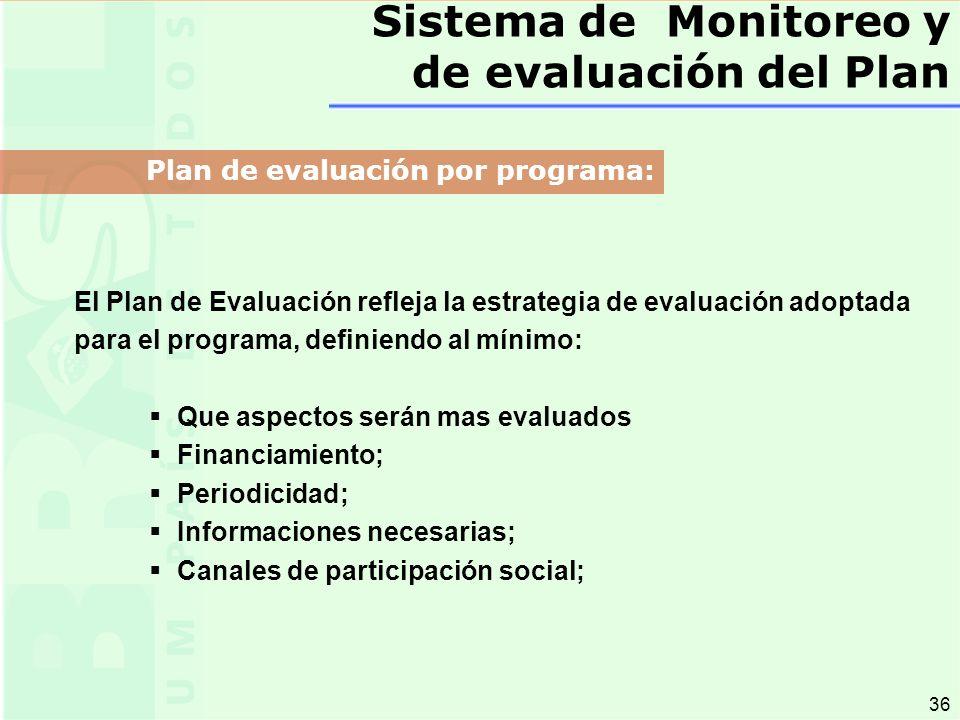 36 El Plan de Evaluación refleja la estrategia de evaluación adoptada para el programa, definiendo al mínimo: Que aspectos serán mas evaluados Financiamiento; Periodicidad; Informaciones necesarias; Canales de participación social; Sistema de Monitoreo y de evaluación del Plan Plan de evaluación por programa: