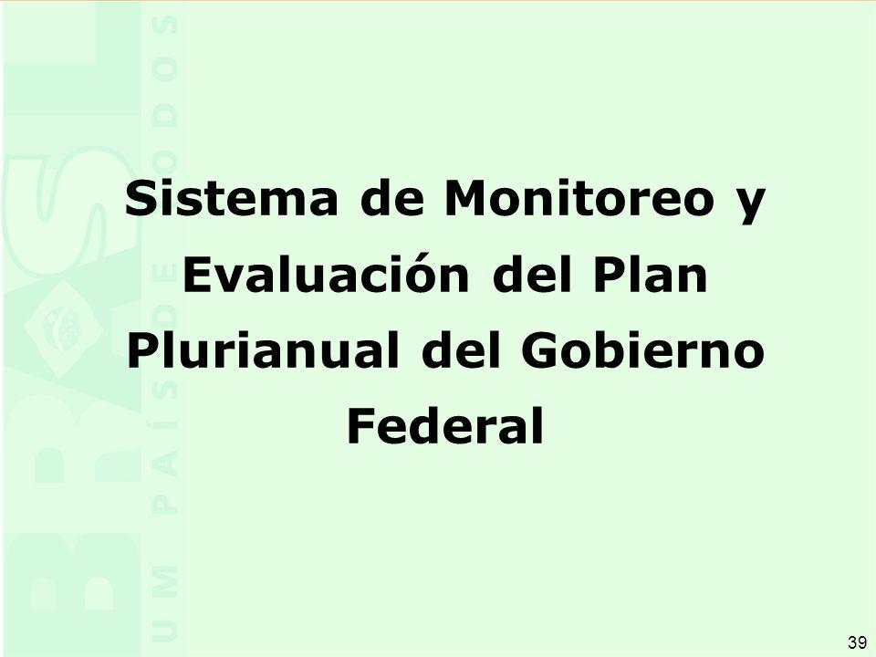 39 Sistema de Monitoreo y Evaluación del Plan Plurianual del Gobierno Federal