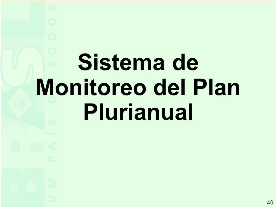 40 Sistema de Monitoreo del Plan Plurianual