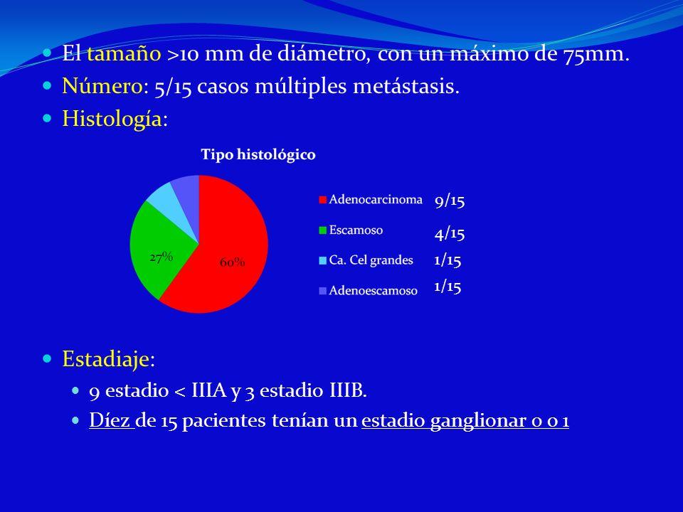 El tamaño >10 mm de diámetro, con un máximo de 75mm. Número: 5/15 casos múltiples metástasis. Histología: Estadiaje: 9 estadio < IIIA y 3 estadio IIIB