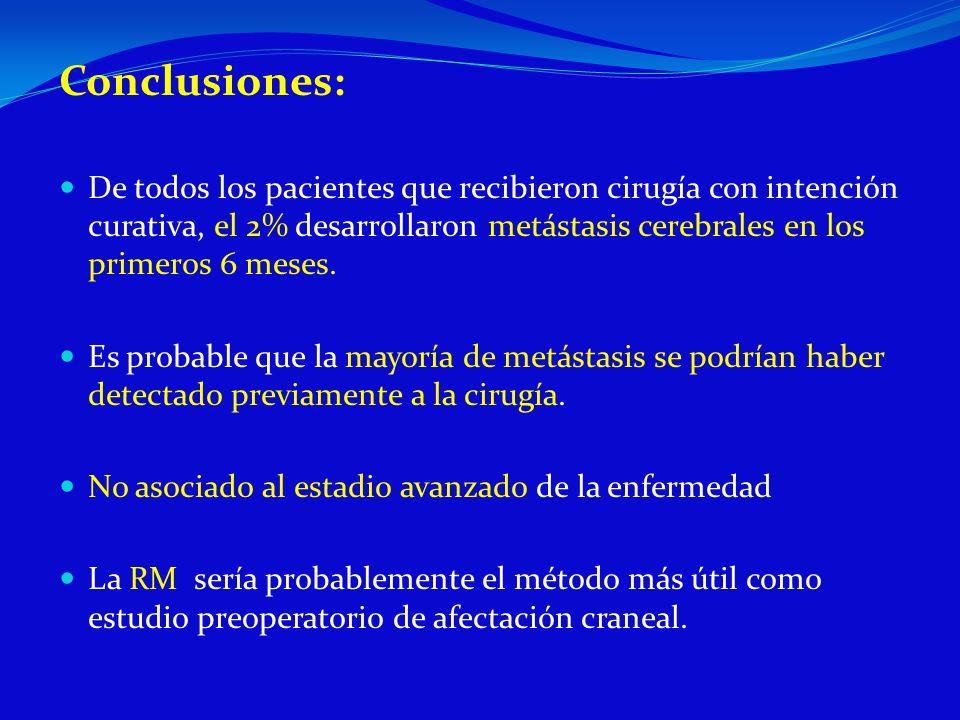 Conclusiones: De todos los pacientes que recibieron cirugía con intención curativa, el 2% desarrollaron metástasis cerebrales en los primeros 6 meses.