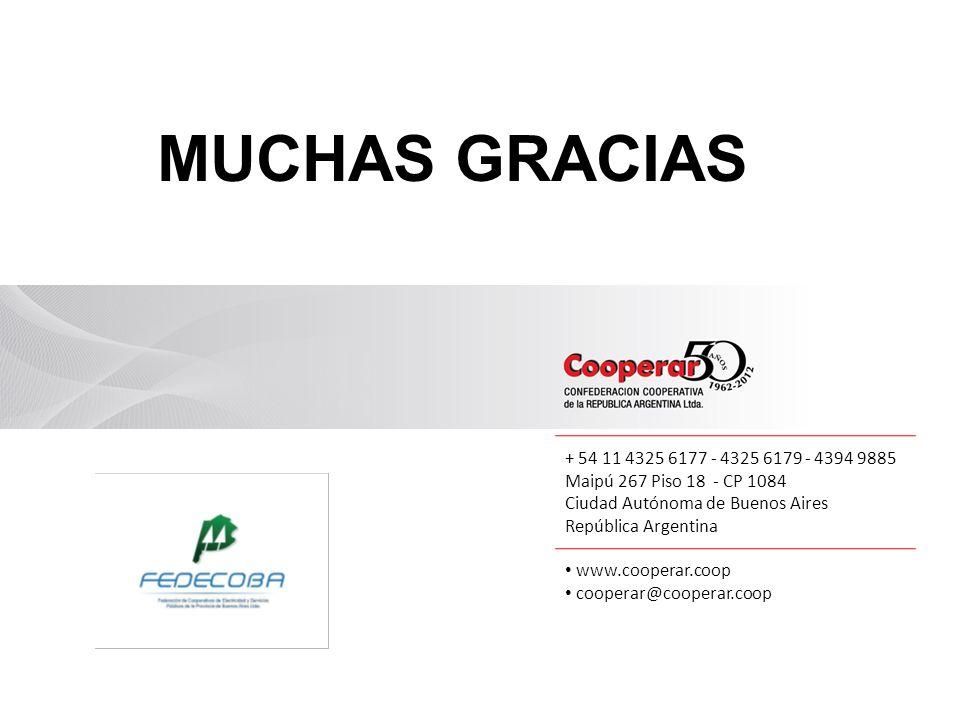 + 54 11 4325 6177 - 4325 6179 - 4394 9885 Maipú 267 Piso 18 - CP 1084 Ciudad Autónoma de Buenos Aires República Argentina www.cooperar.coop cooperar@cooperar.coop MUCHAS GRACIAS