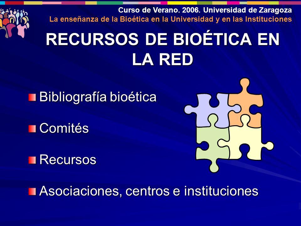 Curso de Verano. 2006. Universidad de Zaragoza La enseñanza de la Bioética en la Universidad y en las Instituciones RECURSOS DE BIOÉTICA EN LA RED Bib