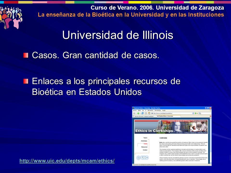 Curso de Verano. 2006. Universidad de Zaragoza La enseñanza de la Bioética en la Universidad y en las Instituciones Casos. Gran cantidad de casos. Enl