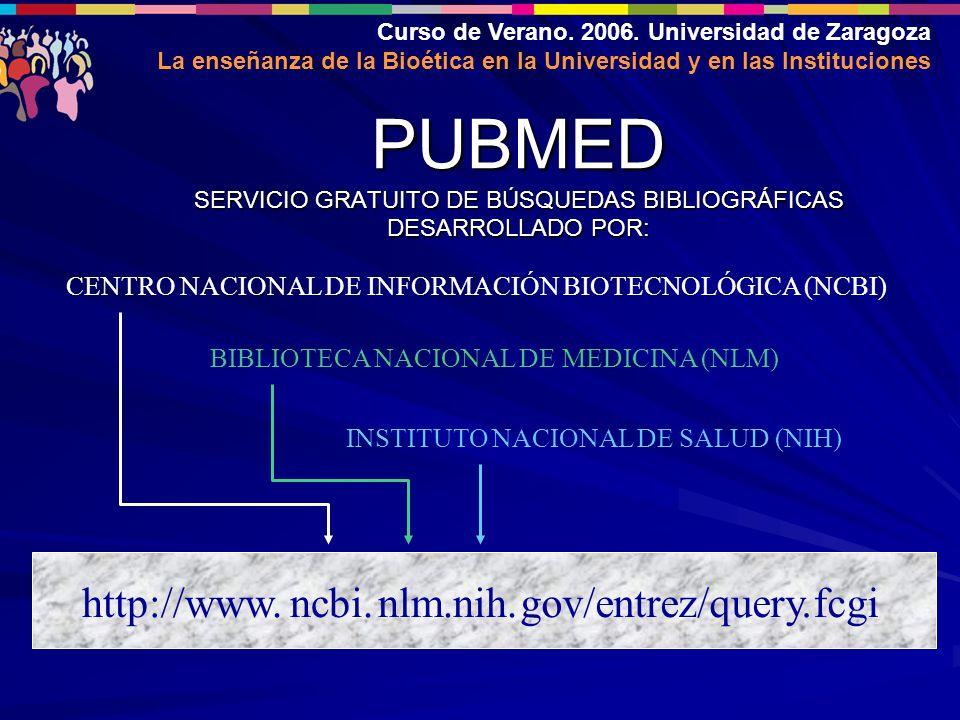 Curso de Verano. 2006. Universidad de Zaragoza La enseñanza de la Bioética en la Universidad y en las Instituciones PUBMED SERVICIO GRATUITO DE BÚSQUE