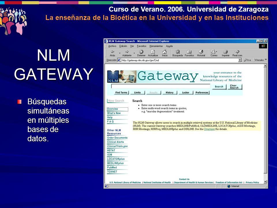 Curso de Verano. 2006. Universidad de Zaragoza La enseñanza de la Bioética en la Universidad y en las Instituciones NLM GATEWAY Búsquedas simultáneas