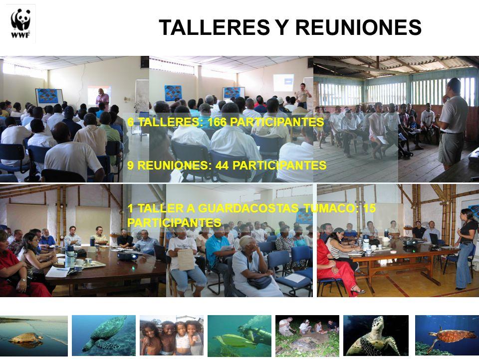 TALLERES Y REUNIONES 6 TALLERES: 166 PARTICIPANTES 9 REUNIONES: 44 PARTICIPANTES 1 TALLER A GUARDACOSTAS TUMACO: 15 PARTICIPANTES