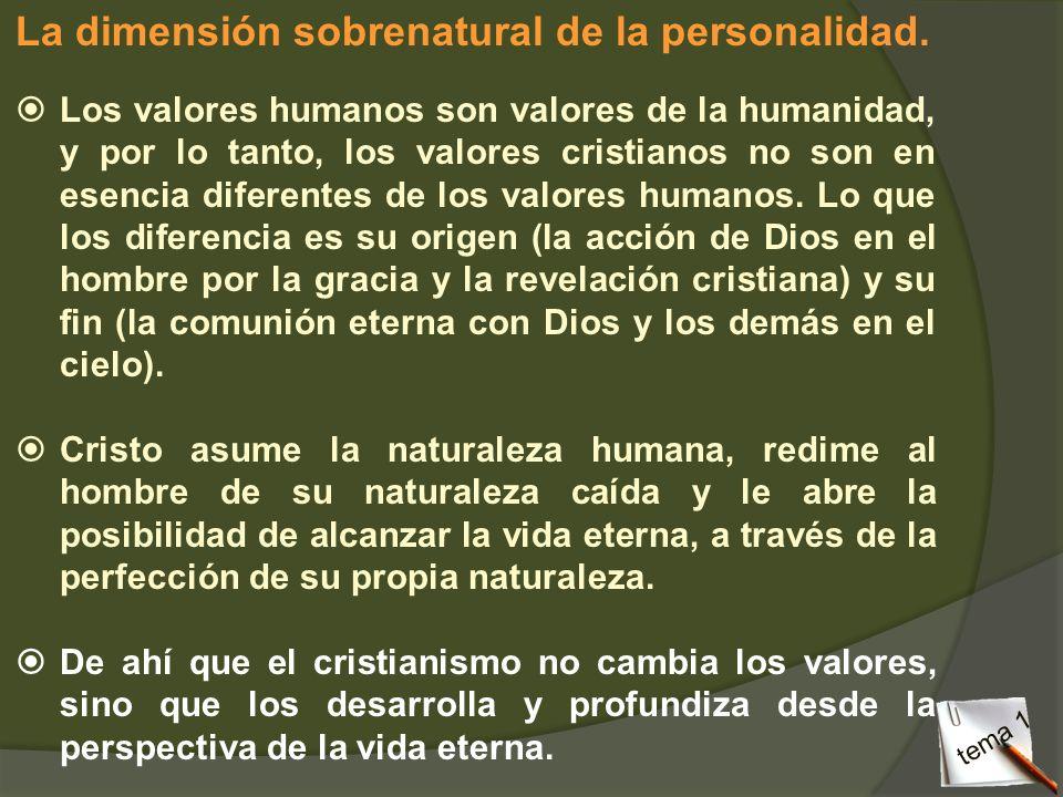 La dimensión sobrenatural de la personalidad. Los valores humanos son valores de la humanidad, y por lo tanto, los valores cristianos no son en esenci