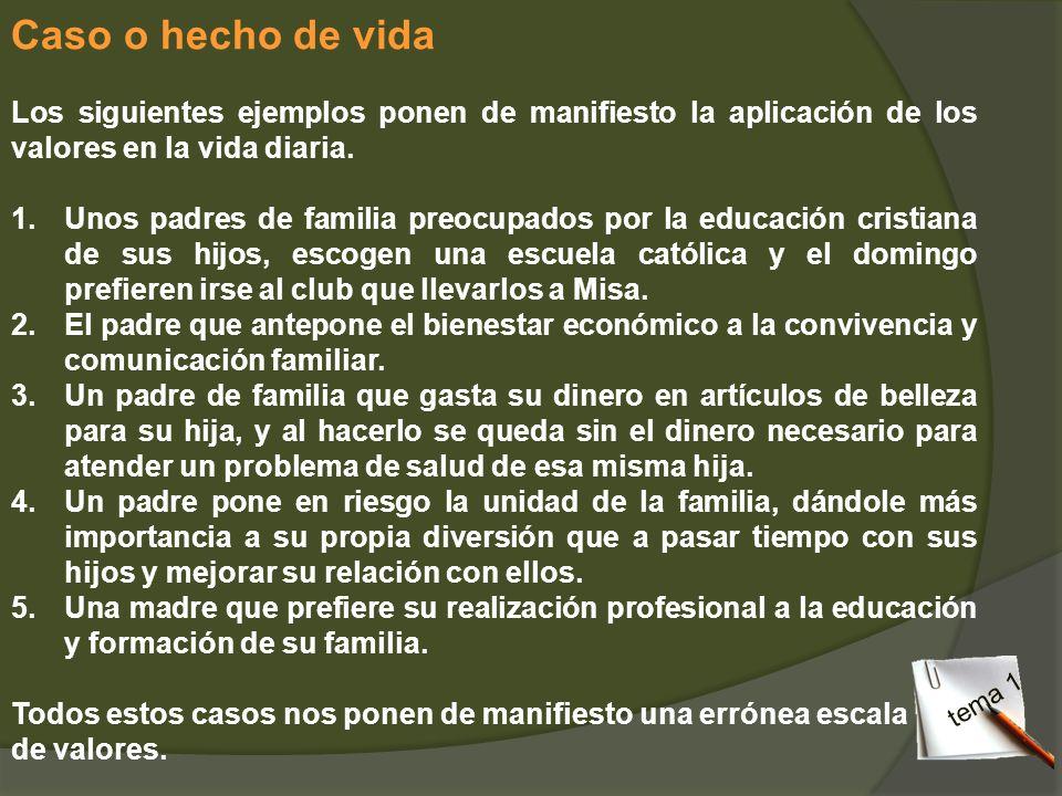 Caso o hecho de vida Los siguientes ejemplos ponen de manifiesto la aplicación de los valores en la vida diaria. 1.Unos padres de familia preocupados