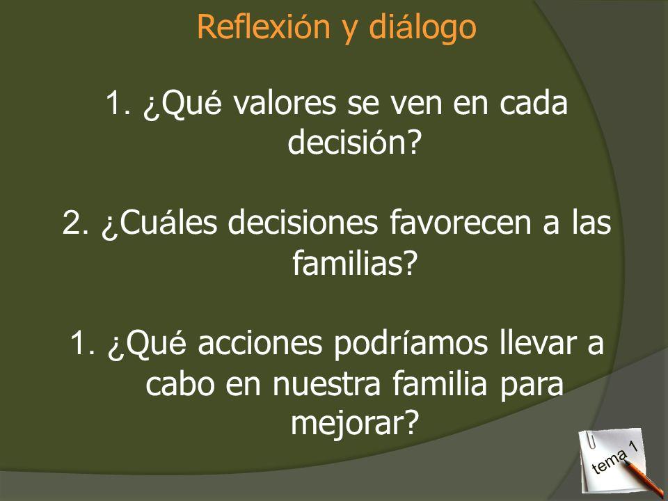 Reflexi ó n y di á logo 1.¿ Qu é valores se ven en cada decisi ó n? 2.¿ Cu á les decisiones favorecen a las familias? 1.¿ Qu é acciones podr í amos ll
