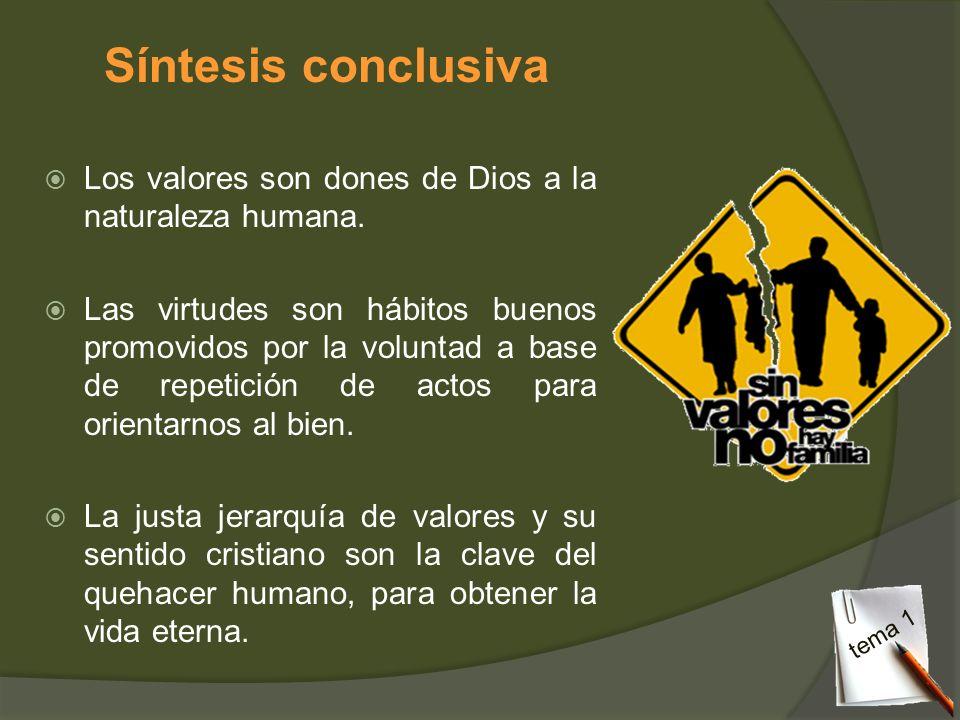 Síntesis conclusiva Los valores son dones de Dios a la naturaleza humana. Las virtudes son hábitos buenos promovidos por la voluntad a base de repetic