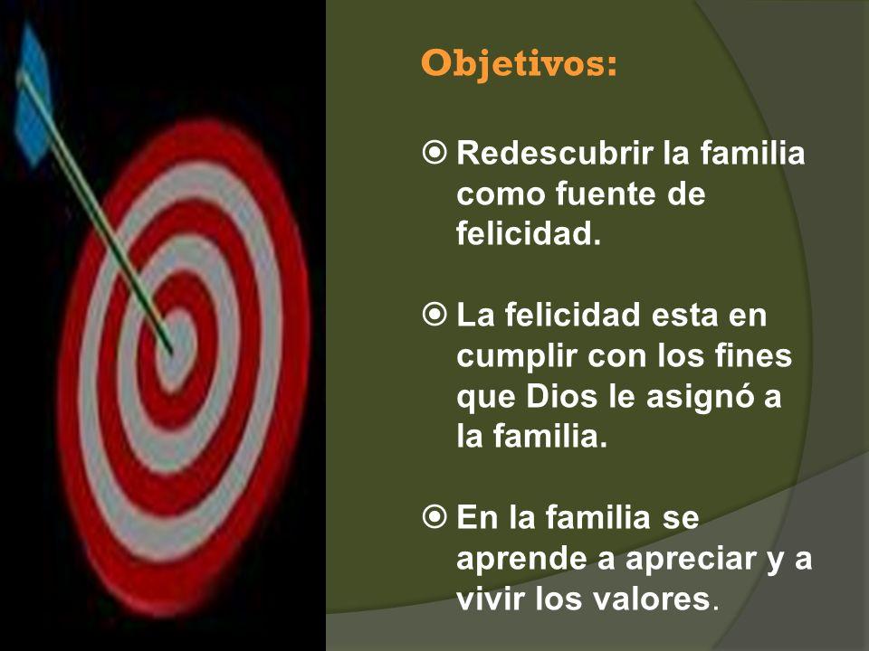Objetivos: Redescubrir la familia como fuente de felicidad. La felicidad esta en cumplir con los fines que Dios le asignó a la familia. En la familia