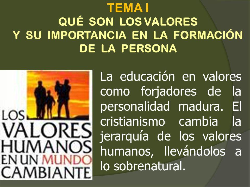 TEMA I QUÉ SON LOS VALORES Y SU IMPORTANCIA EN LA FORMACIÓN DE LA PERSONA La educación en valores como forjadores de la personalidad madura. El cristi