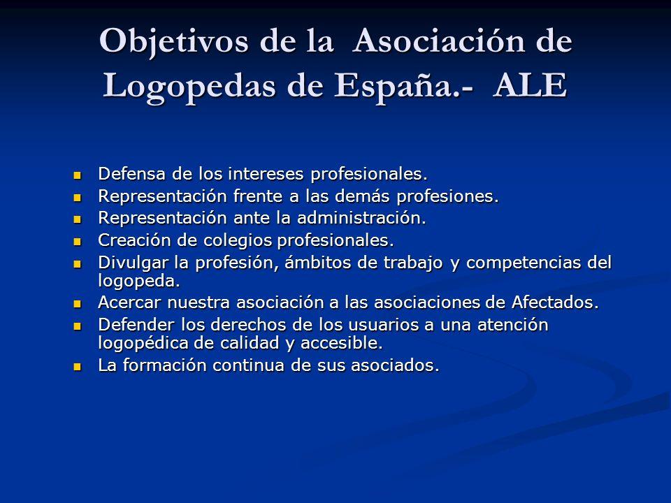 Objetivos de la Asociación de Logopedas de España.- ALE Defensa de los intereses profesionales.